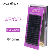 zwellbe 16Rows/Case JBCD Curl Eyelashes Extension Cilia 11-15 mm Lashes Extension for Faux Mink Individual Eyelash Extension(China)
