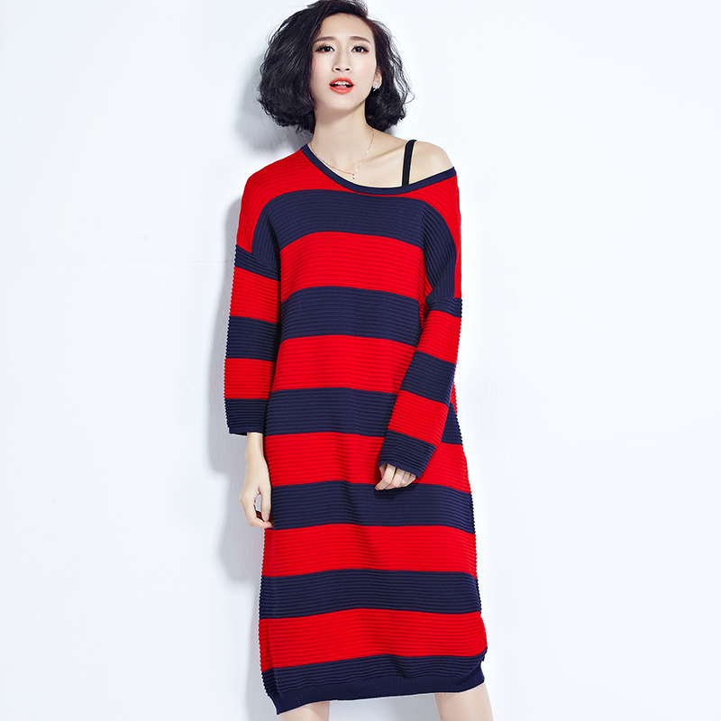 2017 fashion autumn women striped sweater dress plus size new design O neck color patchwork women knitted strip dresses Îäåæäà è àêñåññóàðû<br><br>