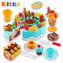 Kitoz 75pcs Happy Cutting Mini Cake Sweet Toy Miniature Food for Doll Pretend Play Plastic Kitchen Toy Birthday Gift for Girl(China)