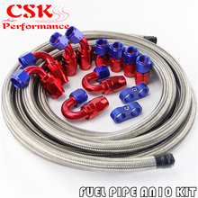 AN10 Stainless Steel Braided Hose 16FT + 10AN Fitting Hose End Adaptor KIT