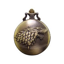 Cindiry 2017 Antique Game of Thrones Strak Family Crest Winter is Coming Design Pocket Watch Unique Gifts Unisex Fob Clock P19(China)