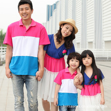 Family Matching Clothes 2016 Summer Matching Mother Daughter Dresses Chiffon Rose Dress Father Son POLO Shirts Turn Down Collar