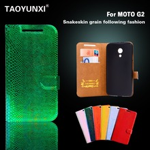 Wallet Case For Motorola Moto G2 G+1 G 2nd Gen. XT1063 XT1068 XT1069 Cover Snake Leather Flip Phone Cover With Stand Phone Bag