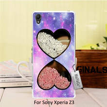 Colourful Style Design Plastic PC Cell Black Phone Case Bling Rhinestone Diamonds Crystal Heart pattern For Sony Xperia z3 case