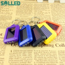 SOLLED New Cute Mini LED Flashlight Solar Energy Powered LED Torch / Keychain Lamp Light for Gift Outdoor Camping(China)