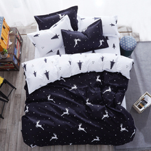 Black and White Twin king queen size Kids polyester bed sheet comforter duvet covers Christmas animal print Giraffe bedding set