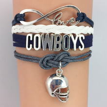 (10 Pieces/Lot) Infinity Love Dallas Football Team Cowboys Charm Wrap Bracelet Navy Silver Leather Wristband Jewelry Custom(China)