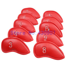 High Quality 10pc/set GOLF Red Thick PU leather Iron Head Covers For Golf Iron Sets(3,4,5,6,7,8,9,Pw,Aw,Sw)