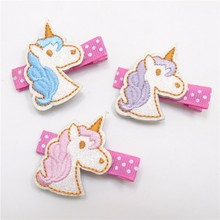 20 pcs/lot , Embroidered Unicorn Hair Bow Clips , Animal Alligator Hair Clip , Gift For Girls Birthday(China)