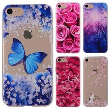 Phone Cases sFor Apple iPhone 7 iPhone7 4.7 Flower Rose Plants Butterfly Pattern Clear Soft TPU Back Cover for iPhone 7 Plus 5.5