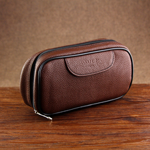 New Brown Leather Bag for 2 Smoking Pipes Best Tobacco Pouch Smoking Pipe Bag Tobacco Pipe Bag(China)