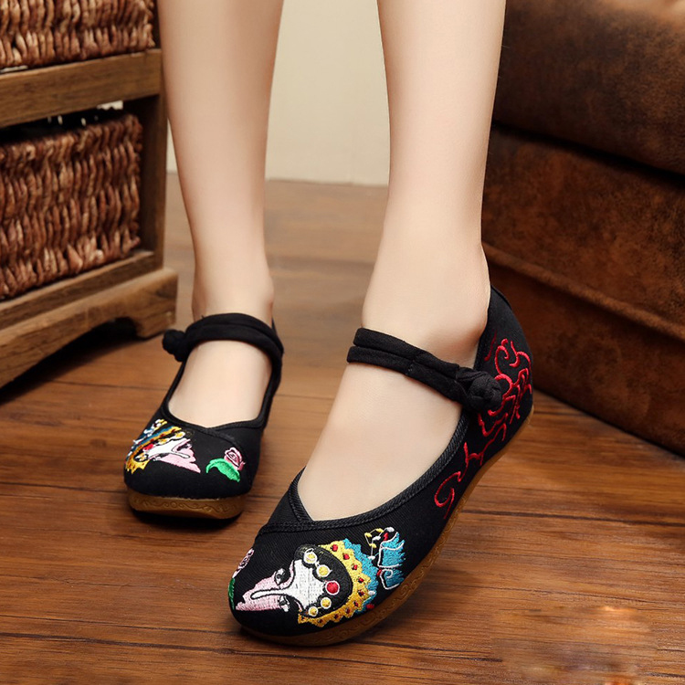 New Chinese Opera exquisite Facial Masks Embroidery oxford shoes for women black sexy canvas ballet flats shoes women Mary Jane<br><br>Aliexpress