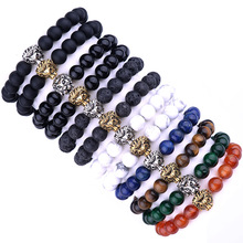 Fashion Lion Bracelet Black Natural Ag. stone Lava stone Marble Stone Men Women Beaded Elastic Strand 8mm bead Bracelet MBC01