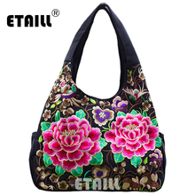 Ethnic Flowers Boho Hobo Embroidery Embroidered Bags Ladies Women's Shoulder Shopper Bag Handbag Women Brand Bags Luxury Logo(China)