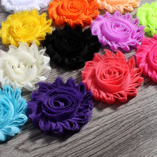 "30pcs/lot 2.6"" 15colors Fashion Chic Shabby Chiffon Flowers For Kids Hair Accessories 3D Frayed Fabric Flowers For Headbands"