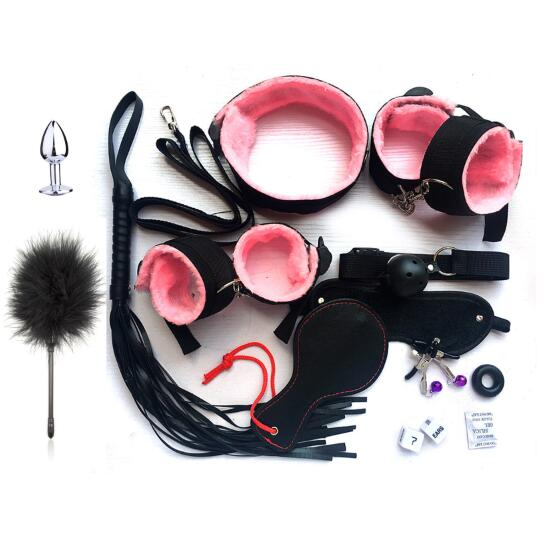 10Pcs//set Adult SM Toys for Lover Handcuffs Cuffs Strap Whip Rope Neck Bandage