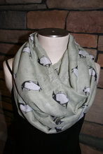 Penguin Infinity Scarf-Arctic Penguin Grey Circle Loop Scarf Chunky Infinity Scarf