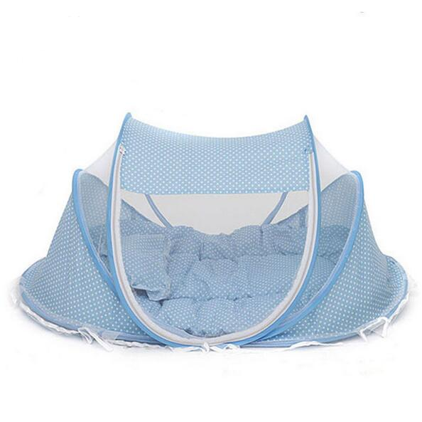 Hot Sales Baby Crib 0-3 Years Baby Bed With Pillow Mat Set Portable Foldable Crib With Netting Newborn Cotton Sleep Travel Bed<br>