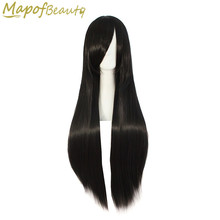 Long straight hair 80cm 32inches Black synthetic Wigs Nautral Cosplay Wig Heat Resistant Ladies Costume Party peruca MapofBeauty(China)