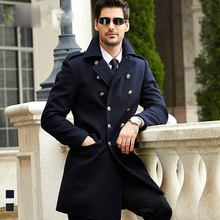 Man Woolen Trench Army Jacket Hot Sale Standard Casual Solid Long Full Sobretudo Overcoat Double Breasted Slim Men Wool Coat