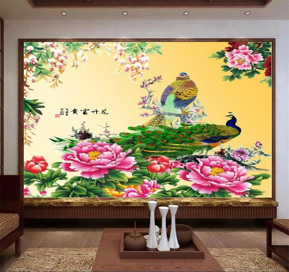 high quality chinese peacock wallpaper promotion shop for high 3d wallpaper photo wallpaper custom living room mural peacock peony flower chinese painting tv background wall non woven sticker