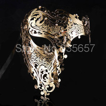 Free Shipping Silver,Black Gold 3 Color Phantom Laser Cut Venetian Mask Masquerade Metal Men or Women Skull Filigree for party(China)