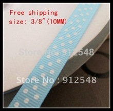 "FREE SHIPPING,3/8""(10mm), Lovely 1Cm Water blue color with Dot DIY Ribbons Free shipping Satin Ribbons,Grosgrain Ribbon,xyd014"