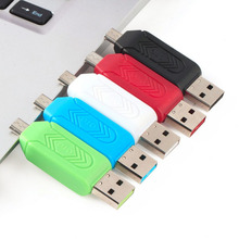 2016 New 1pc Universal Card Reader Mobile phone PC card reader Micro USB OTG Card Reader OTG TF / S-D flash memory Wholesaler