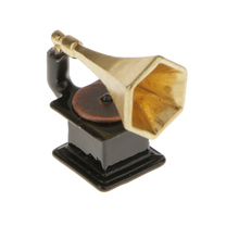 1:12 Scale Dollhouse Miniature Phonograph Vintage 1/12 Doll House Furniture Music Toys Decoration Gift for Kid Dolls Toy Craft(China)