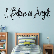 Black Stickers I believe in Angels Home Decor Modern Acrylic Decoration Waterproof Wall Decals Home Decoration Wallpaper(China)