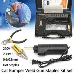 Новый 220-250 В горячий степлер автомобильный бампер пластиковая Сварочная горелка обтекатель авто инструмент сварочный аппарат 0,6/0,8 мм + 200 ск...