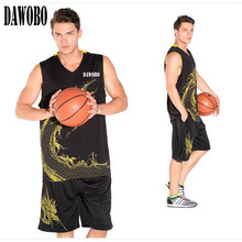 5 Colors New Brands Men's Exquisite pattern jersey Set sports shirt training basketball jersey suit Breathable Sports Wear Kits(China)