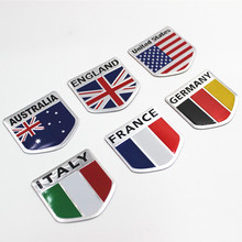 3D Aluminum USA Russia France Germany Italy UK Australia National Flag Shield Car Sticker Car Styling Accessories(China)