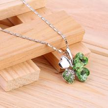 GENBOLI Green Color Crystal 4 Four Leaf Leaves Clover Pendant Link Chain Necklace for Women 2017 New Fashion Jewelry
