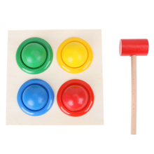 Baby Wooden Noise Maker Colorful Wood Knock Ball Kids Hammer Box Geometric Early Educational Toy(China)
