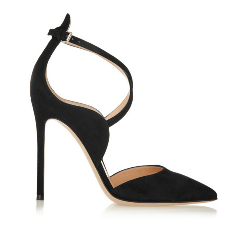 Cross Straps  Pointed Toe High-heeled Shoes 2017 European Style  New Women Sandals Summer Black Sexy Hollow Out Women Pumps<br>