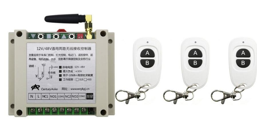 New DC12V 24V 36V 48V 10A 2CH RF Wireless Switch Relay Receiver Remote Controllers &amp; 3* White AB keys Waterproof Transmitter<br>
