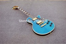 Custom shop,Foam Sea Blue tiger strip LP electric guitar,Gold hardwares,Made in China