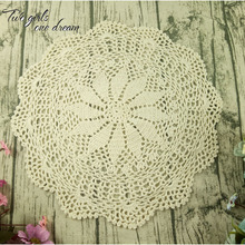 Vintage Handmade Crochet Coaster Doily Flower Tray Pad Decoration Cushion Cover European Round Table Cup Mats 40CM 10PCS/LOT