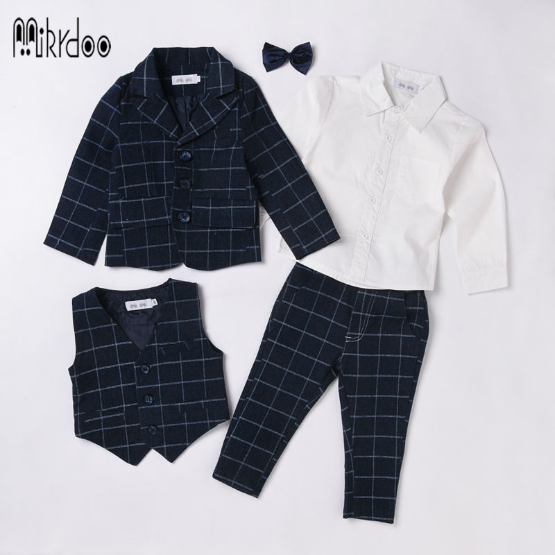 Baby boy clothes blazers formal suit gentleman kids tuexdo terno clothing set children costume coat shirt vest pants wedding hot<br><br>Aliexpress