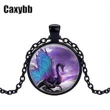 Blue Dragon black chain Necklace glass dome pendant necklace Jewelry Long Dragon Necklace Fantasy winged Dragon Jewelry CN-345