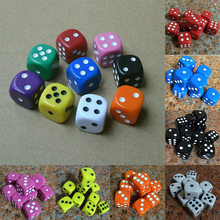 Best Promotion 10Pcs 16mm Multicolor Acrylic Round Corner Dice 6 sided Die Portable Table Games Dice(China)