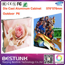 576*576mm p6 outdoor led screen die cast aluminum cabinet outdoor with p6 outdoor led module 1/4s led advertising video screen