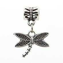 1Pc Free Shipping Fashion European Silver Dragonfly Charms Pendant Bead Silver Beads Charm DIY Fit Pandora Bracelet & Bangles