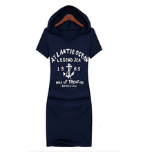 Summer Style Casual Dress Women Fashion Print Letters Anchors Bandage Dresses Short Sleeve Plus Size Hooded Vestidos KH659167