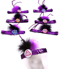 First wedding 50% off for 3pcs bachelorette party on disco club purple sequin bride to be headband fun sex products hen party(China)