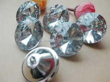 30mmTransparent clear Glass Crystal Upholstery buttons 30pcs shining crystal rhinestone buttons Craft Accessorie scrapbooking