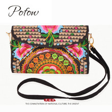 Pofow brand stylish Delicate Clutch Wallet Women Handbag Ethnic Shoulder Bags Purse Retro Butterfly Flower Coin Purse Lady Bag(China)