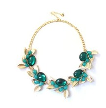 Luxury Green/Purple/Rose Synthetic Gemstone Necklace Gold-color Chokers Necklace For Women Summer Statement Collar Necklace