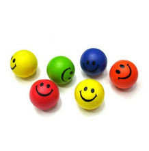 2pcs Dia 6.3cm Stress Ball Novetly Smile Face Print Squeeze Ball Hand Wrist Exercise Stress Ball PU Rubber Toy Balls(China)